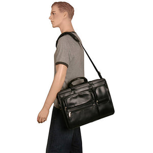 Black Leather Briefcase for Men - Vintage Classic 15 Inch Laptop Bag Worn