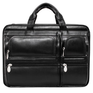 Black Leather Briefcase for Men - Vintage Classic 15 Inch Laptop Bag