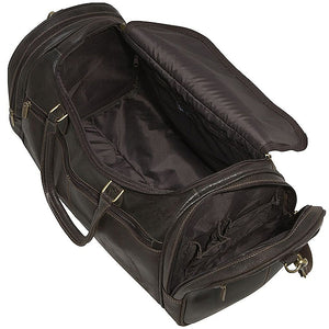 Distressed Leather Duffel Bag for Men Open 2