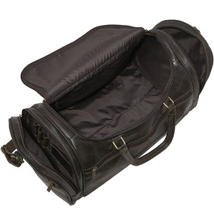 Distressed Leather Duffel Bag for Men Open