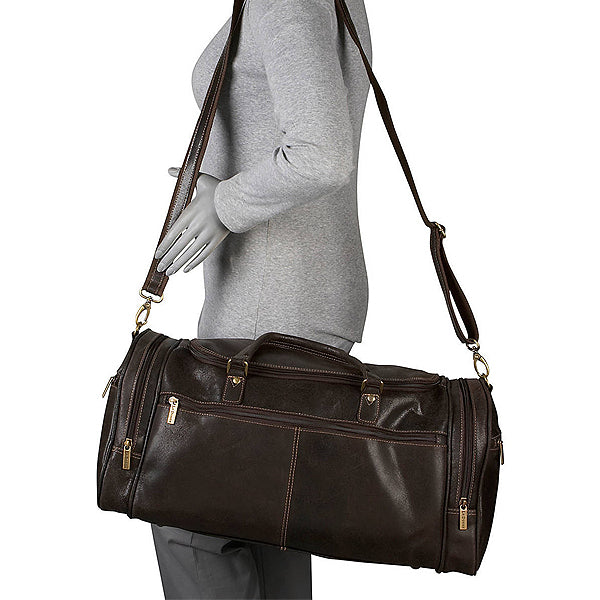 Distressed Leather Duffel Bag for Men Worn 2
