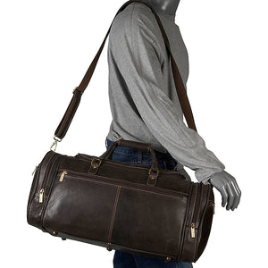 Distressed Leather Duffel Bag for Men Worn