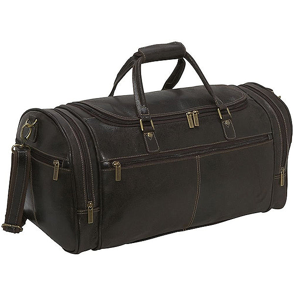 Distressed Leather Duffel Bag for Men Dark Brown