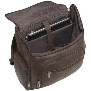 Distressed Leather Laptop Backpack for Men for 15 Inch Laptops Open