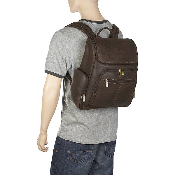 Distressed Leather Laptop Backpack for Men for 15 Inch Laptops Back