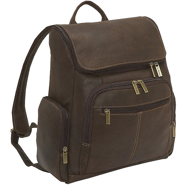 Distressed Leather Laptop Backpack for Men for 15 Inch Laptops Dark Brown