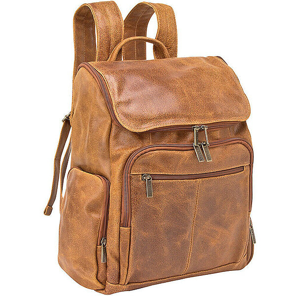 Distressed Leather Laptop Backpack for Men for 15 Inch Laptops