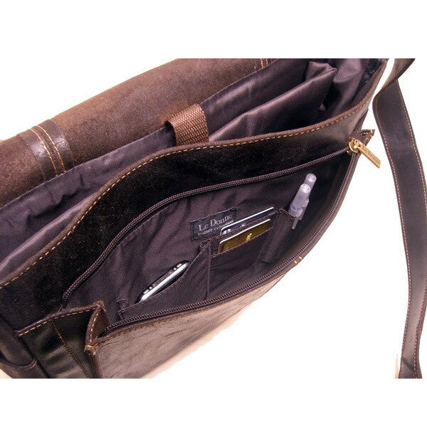 Distressed Men's Leather Messenger Bag Open Front