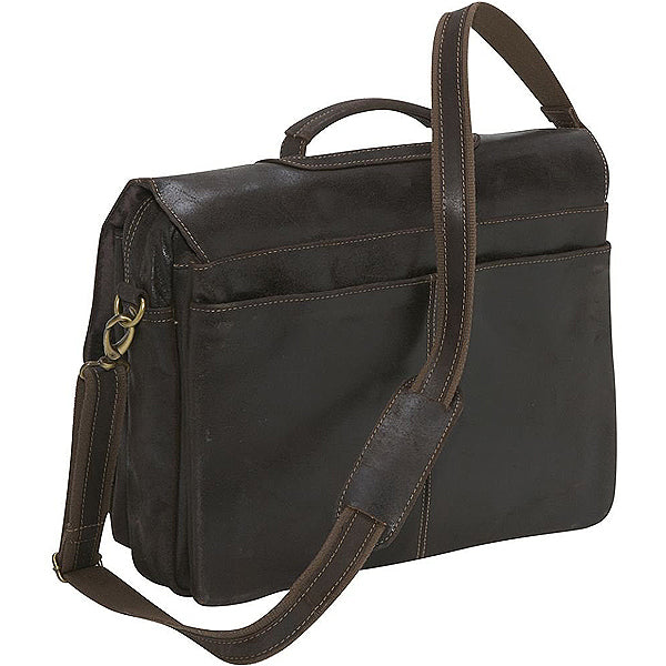 Distressed Leather Laptop Bag for Men Dark Brown Back