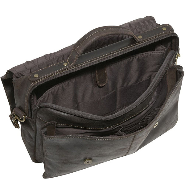 Distressed Leather Laptop Bag for Men Open 3