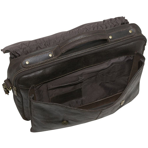 Distressed Leather Laptop Bag for Men Open