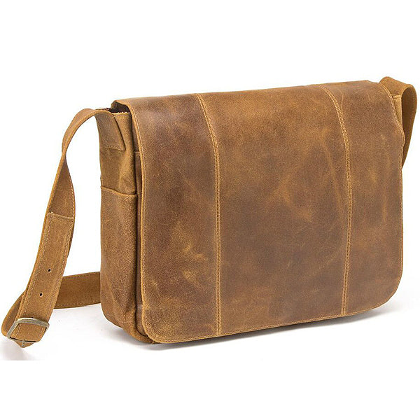 Distressed Men's Leather Messenger Bag