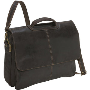 Distressed Leather Laptop Bag for Men Dark Brown