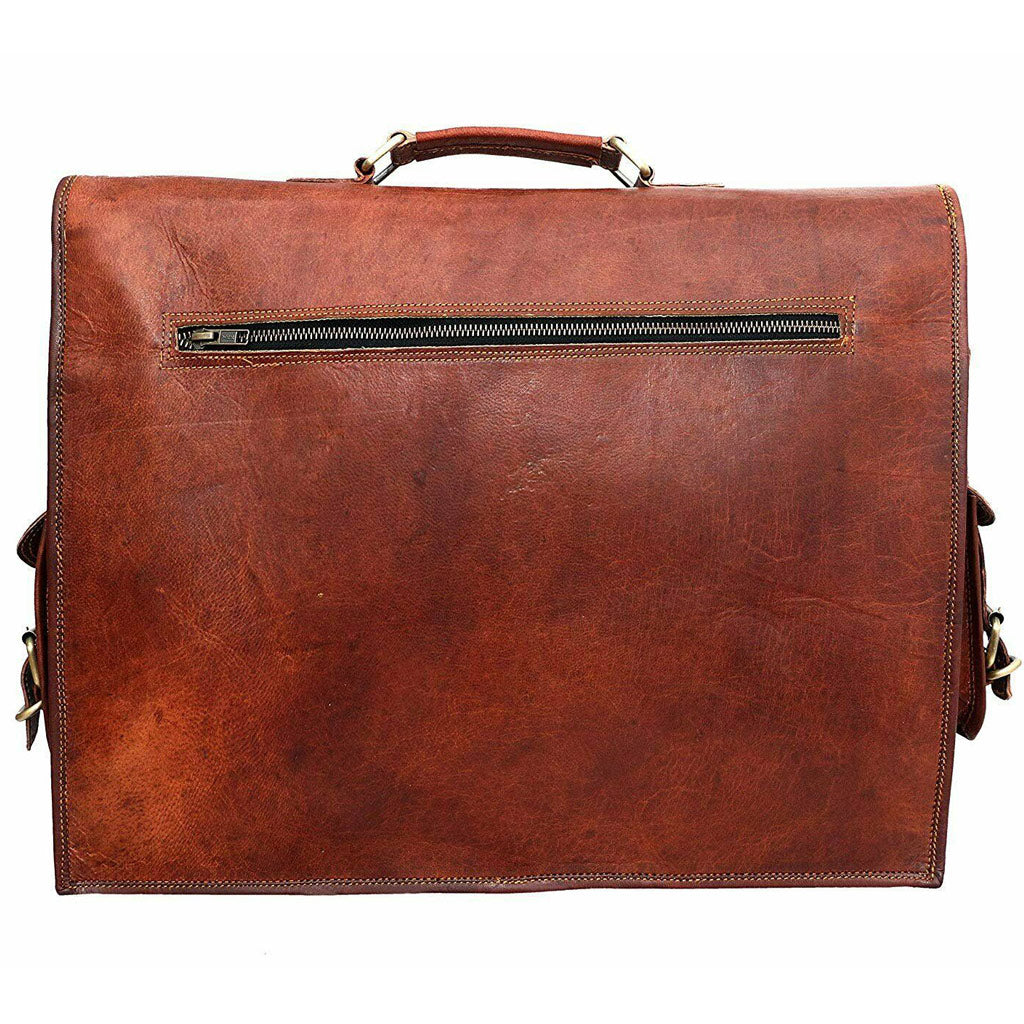 Lawyer's Leather Messenger Bag Laptop Briefcase - Full Grain Leather Back