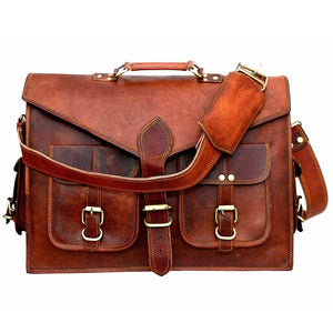 Lawyer's Leather Messenger Bag Laptop Briefcase - Full Grain Leather Front Top