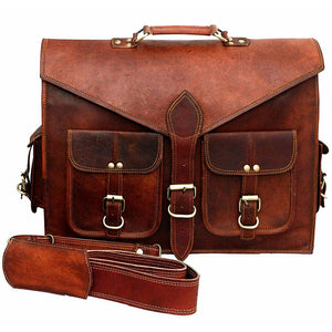 Lawyer's Leather Messenger Bag Laptop Briefcase - Full Grain Leather Front