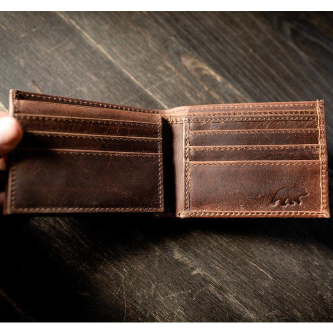 Men's Bifold Top Grain Leather Wallet Open