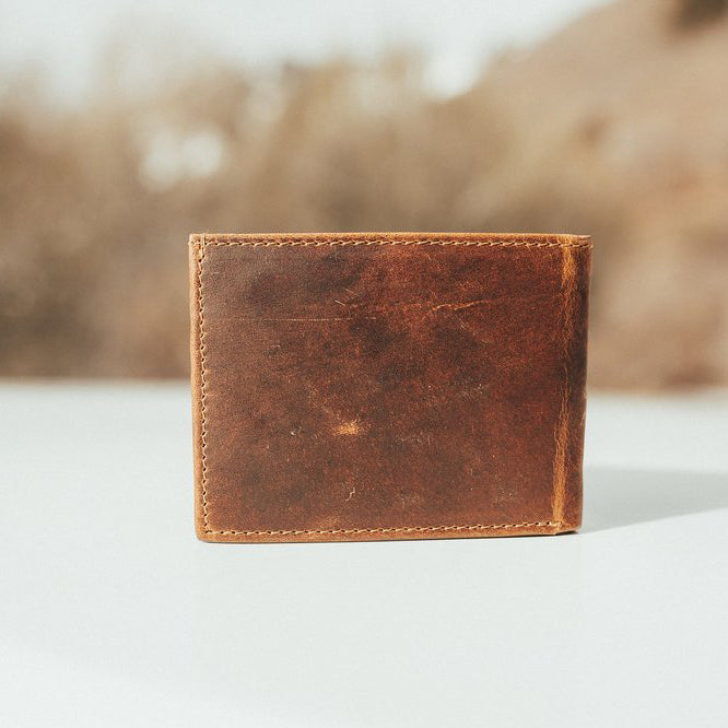 Men's Bifold Top Grain Leather Wallet Closed