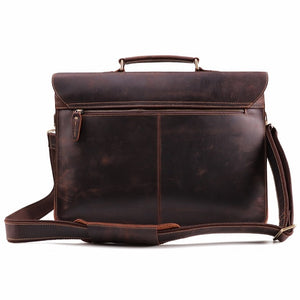 Men's Leather Briefcase Messenger Bag for 15 Inch Laptop Computers Back