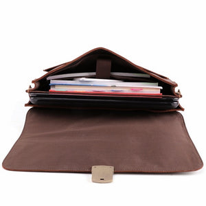Men's Leather Briefcase Messenger Bag for 15 Inch Laptop Computers Open Full