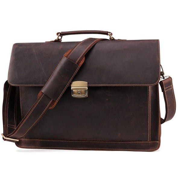 Men's Leather Briefcase Messenger Bag for 15 Inch Laptop Computers