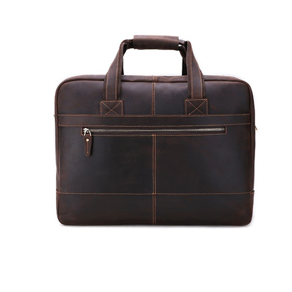 Men's Leather Briefcase Bag for 17 Inch Laptop Computers Rear
