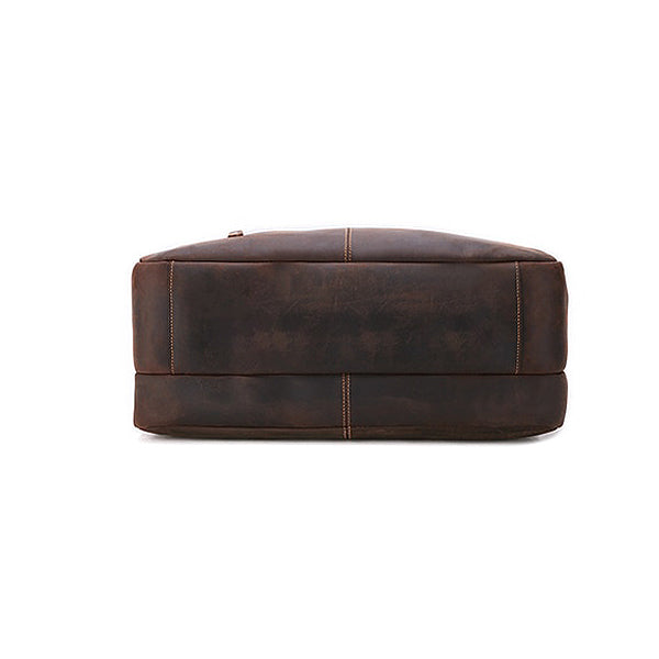 Men's Leather Briefcase Bag for 17 Inch Laptop Computers Bottom