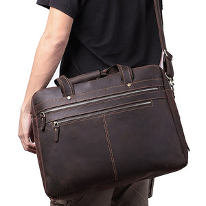 Men's Leather Briefcase Bag for 17 Inch Laptop Computers Worn 2