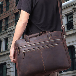 Men's Leather Briefcase Bag for 17 Inch Laptop Computers Worn 3