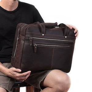 Men's Leather Briefcase Bag for 17 Inch Laptop Computers on Knee