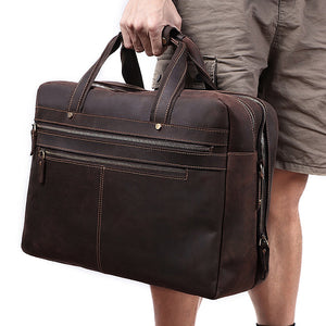 Men's Leather Briefcase Bag for 17 Inch Laptop Computers Held