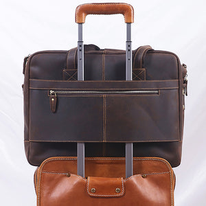 Men's Leather Briefcase Bag for 17 Inch Laptop Computers on Suitcase