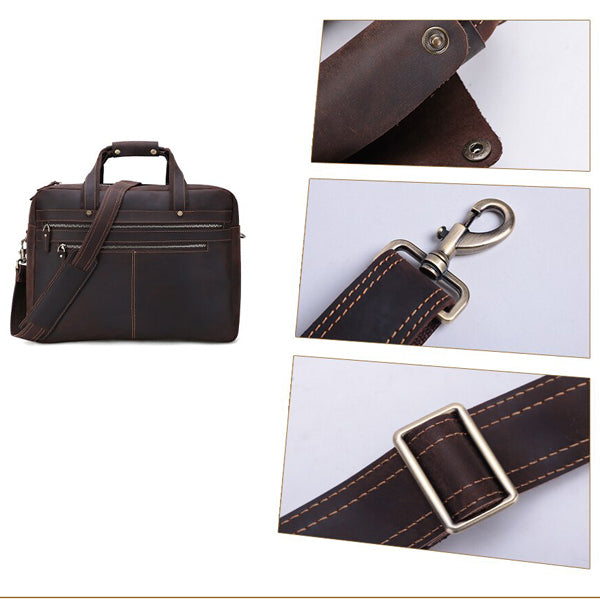 Men's Leather Briefcase Bag for 17 Inch Laptop Computers Zoomed