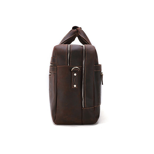 Men's Leather Briefcase Bag for 17 Inch Laptop Computers Side