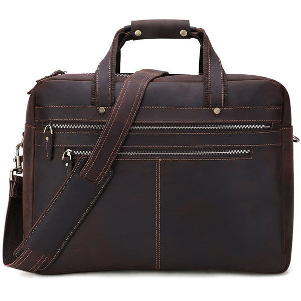 Men's Leather Briefcase Bag for 17 Inch Laptop Computers