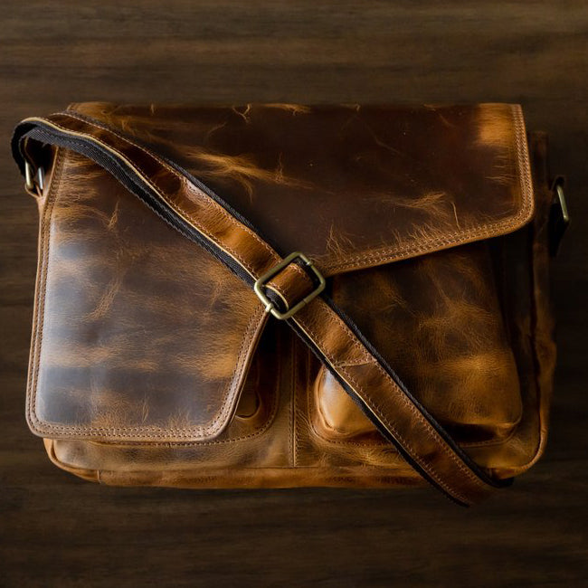 The Buffalo Leather Messenger Bag for Men and Women for 15 Inch Laptops
