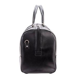 Men's Leather Carry On Luggage Duffel Bag Black End
