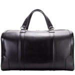 Men's Leather Carry On Luggage Duffel Bag Black Front