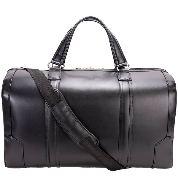 Men's Leather Carry On Luggage Duffel Bag Black Strap