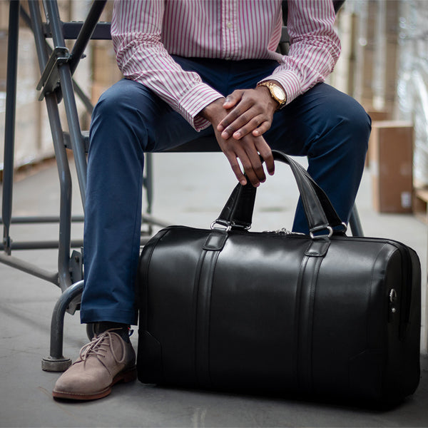 Men's Leather Carry On Luggage Duffel Bag Black Warehouse