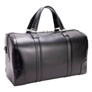 Men's Leather Carry On Luggage Duffel Bag Black