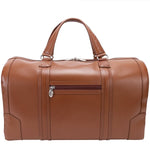 Men's Leather Carry On Luggage Duffel Bag Brown Back