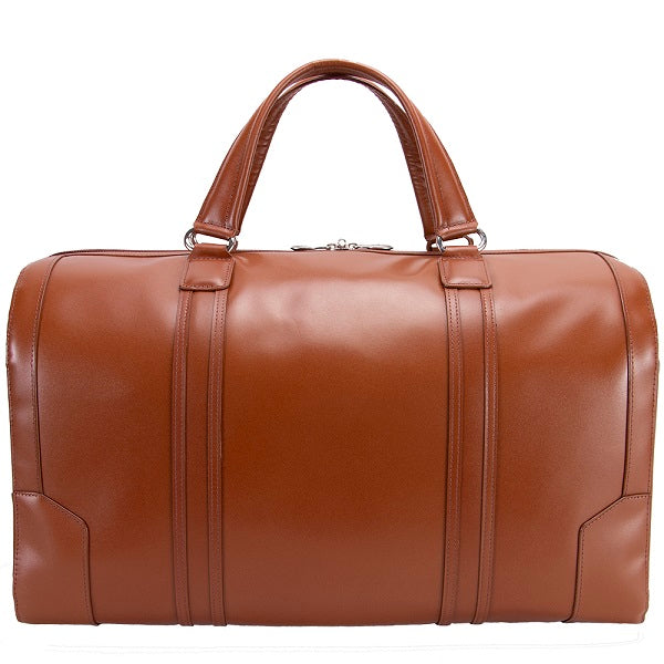 Men's Leather Carry On Luggage Duffel Bag Brown Front