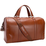 Men's Leather Carry On Luggage Duffel Bag Brown Strap