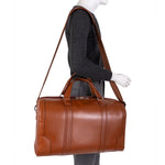 Men's Leather Carry On Luggage Duffel Bag Brown Worn