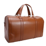 Men's Leather Carry On Luggage Duffel Bag Brown