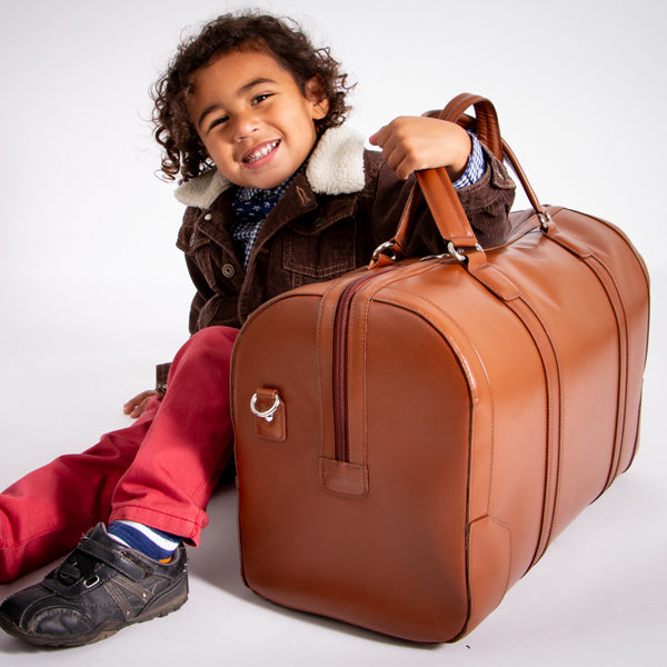 Men's Leather Carry On Luggage Duffel Bag Brown Kid