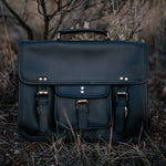 Buffalo Leather Satchel for Men - Classic Vintage Messenger Bag Black 2