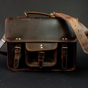 Buffalo Leather Satchel for Men - Classic Vintage Messenger Bag Dark Brown