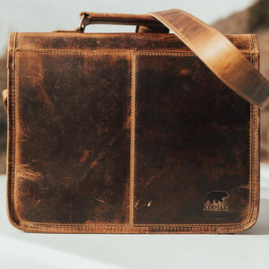 Buffalo Leather Satchel for Men - Classic Vintage Messenger Bag Back